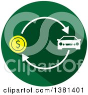 Clipart Of A Flat Design Round Car Purchase Icon Royalty Free Vector Illustration