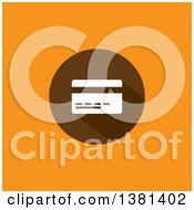 Clipart Of A Flat Design Credit Card On A Brown Circle Over Orange Royalty Free Vector Illustration by ColorMagic