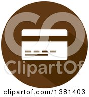 Clipart Of A Flat Design Credit Card On A Brown Icon Royalty Free Vector Illustration