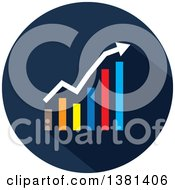 Clipart Of A Flat Design Round Bar Graph Icon Royalty Free Vector Illustration