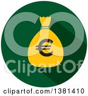 Clipart Of A Flat Design Round Euro Money Bag Icon Royalty Free Vector Illustration
