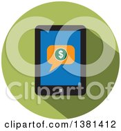 Clipart Of A Flat Design Round Smart Phone Purchase Icon Royalty Free Vector Illustration