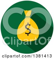 Clipart Of A Flat Design Round Dollar Money Bag Icon Royalty Free Vector Illustration