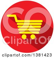 Clipart Of A Flat Design Yellow And Red Shopping Cart Icon Royalty Free Vector Illustration