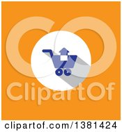 Clipart Of A Flat Design Add To Shopping Cart Icon On Orange Royalty Free Vector Illustration