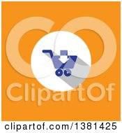 Clipart Of A Flat Design Remove From Shopping Cart Icon On Orange Royalty Free Vector Illustration