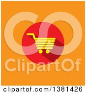 Clipart Of A Flat Design Yellow And Red Shopping Cart Icon On Orange Royalty Free Vector Illustration