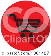Clipart Of A Flat Design Black And Red Shopping Cart Icon Royalty Free Vector Illustration