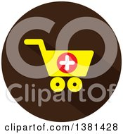 Clipart Of A Flat Design Yellow And Brown Add To Shopping Cart Icon Royalty Free Vector Illustration