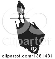 Clipart Of A Black And White Woodcut Lone Senior Woman Walking With A Skull And Shadow Royalty Free Vector Illustration