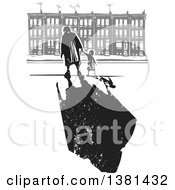 Clipart Of A Woodcut Senior Woman Walking With A Grandchild Near Row Houses And A Dark Shadow Royalty Free Vector Illustration