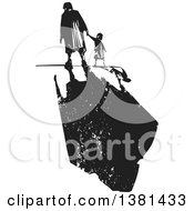 Black And White Woodcut Senior Woman Walking With A Grandchild And A Dark Shadow