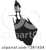 Clipart Of A Black And White Woodcut Lone Senior Woman Walking With A Dark Shadow Royalty Free Vector Illustration