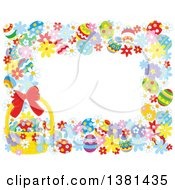 Clipart Of A Horizontal Border Frame Of Easter Eggs Flowers And A Basket Royalty Free Vector Illustration