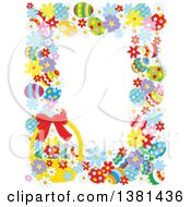 Clipart Of A Vertical Border Frame Of Easter Eggs Flowers And A Basket Royalty Free Vector Illustration