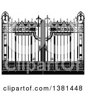 Clipart Of A Vintage Black And White Ornate Wrought Iron Gate Royalty Free Vector Illustration by Frisko