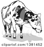 Clipart Of A Grayscale Dairy Cow And Shadow Royalty Free Vector Illustration by dero