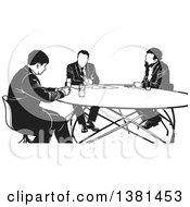 Black And White Group Of Business Men Having A Meeting