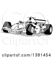 Clipart Of A Grayscale Forumula One Race Car And Driver Royalty Free Vector Illustration by dero