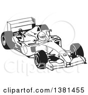 Clipart Of A Black And White Forumula One Race Car And Driver Royalty Free Vector Illustration