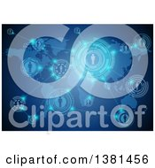 Clipart Of A Network Of People Socializing Through A Global Connection Over A Map On Blue Royalty Free Vector Illustration by dero