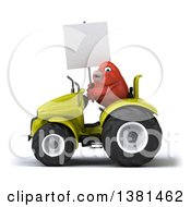 Clipart Of A 3d Red Bird Operating A Tractor On A White Background Royalty Free Illustration