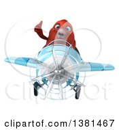 Clipart Of A 3d Red Bird Flying A Plane On A White Background Royalty Free Illustration