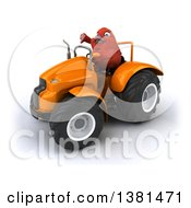 Poster, Art Print Of 3d Red Bird Operating A Tractor On A White Background