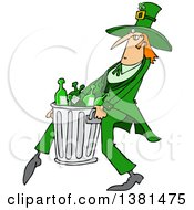 Cartoon St Patricks Day Leprechaun Carrying A Garbage Can Full Of Liquor Bottles