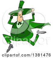 Clipart Of A Cartoon Chubby St Patricks Day Leprechaun Holding His Hat And Running Royalty Free Vector Illustration by djart