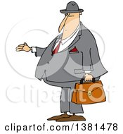 Clipart Of A Cartoon Chubby White Debt Collector Or Businessman Holding His Hand Out For Payment Royalty Free Vector Illustration