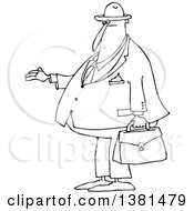 Clipart Of A Cartoon Black And White Lineart Chubby Debt Collector Or Businessman Holding His Hand Out For Payment Royalty Free Vector Illustration