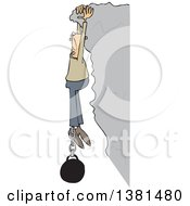 Clipart Of A Cartoon White Man Hanging From A Cliff With A Ball And Chain Attached To His Ankle Royalty Free Vector Illustration