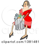 Clipart Of A Cartoon Brunette White Woman Carrying A Trash Can Royalty Free Vector Illustration