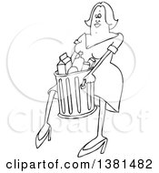 Clipart Of A Cartoon Black And White Woman Carrying A Trash Can Royalty Free Vector Illustration
