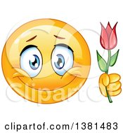 Clipart Of A Romantic Yellow Smiley Face Emoticon Emoji Holding A Flower Royalty Free Vector Illustration