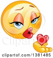 Romantic Female Yellow Smiley Face Emoticon Emoji Holding A Blowing A Kiss And Heart