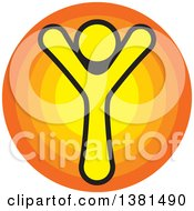Clipart Of A Happy Cheering Person Over A Circle Royalty Free Vector Illustration