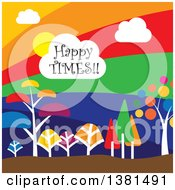 Clipart Of A Happy Times Cloud Over A Colorful Landscape With Trees Royalty Free Vector Illustration
