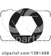 Clipart Of A Black And White Camera Royalty Free Vector Illustration