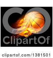 Clipart Of A 3d Flying And Blazing Basketball With A Trail Of Flames On Black Royalty Free Vector Illustration by AtStockIllustration