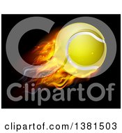 3d Flying And Blazing Tennis Ball With A Trail Of Flames On Black