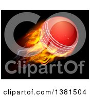 Clipart Of A 3d Flying And Blazing Cricket Ball With A Trail Of Flames On Black Royalty Free Vector Illustration