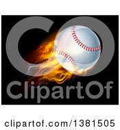 Clipart Of A 3d Flying And Blazing Baseball With A Trail Of Flames On Black Royalty Free Vector Illustration
