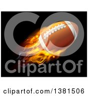 Clipart Of A 3d Flying And Blazing American Football With A Trail Of Flames On Black Royalty Free Vector Illustration