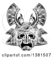 Clipart Of A Black And White Woodblock Or Engraved Samurai Mask Royalty Free Vector Illustration by AtStockIllustration