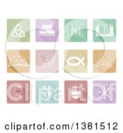White Christian Icons On Colorful Pastel Tiles