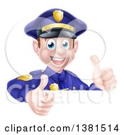 Clipart Of A Cartoon Happy Caucasian Male Police Officer Giving Twp Thumbs Up Over A Sign Royalty Free Vector Illustration