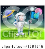 Clipart Of A Happy Caucasian Male Astronaut Planting An Earth Flag On A Foreign Planet Royalty Free Vector Illustration