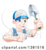 Clipart Of A Happy Young Brunette White Male Gardener In Blue Pointing And Holding A Shovel Royalty Free Vector Illustration